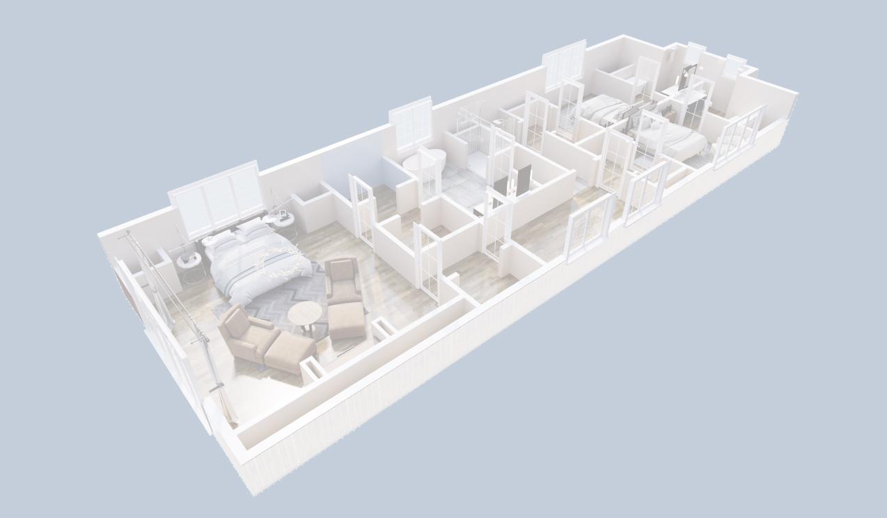 3d floor plan white
