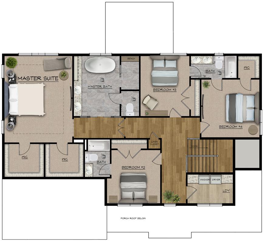 Color 2d floor plan left