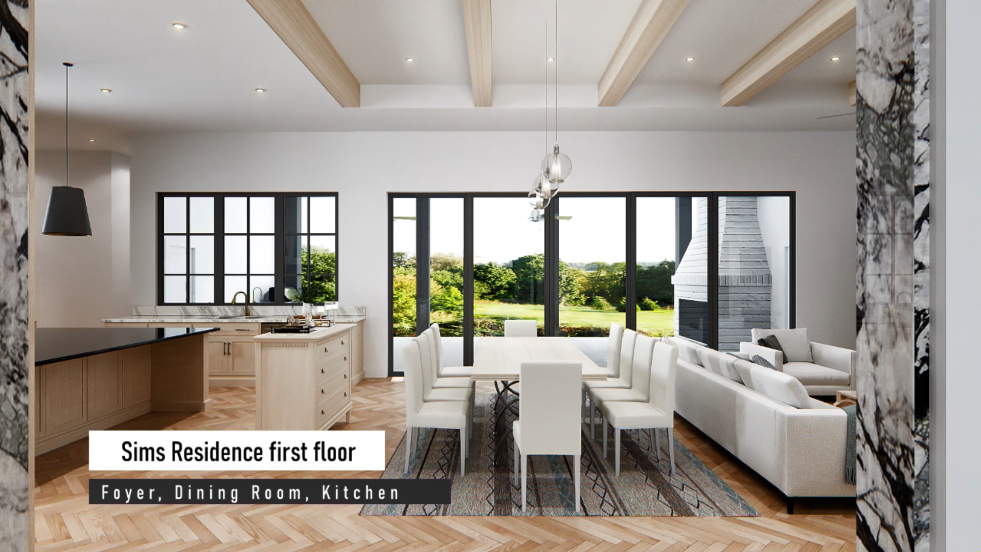 Sims Foyer, Dining room, Kitchen interior image