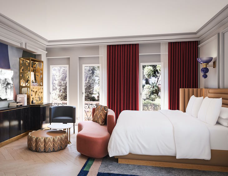 W Rome Guest Room 3D interior rendering image